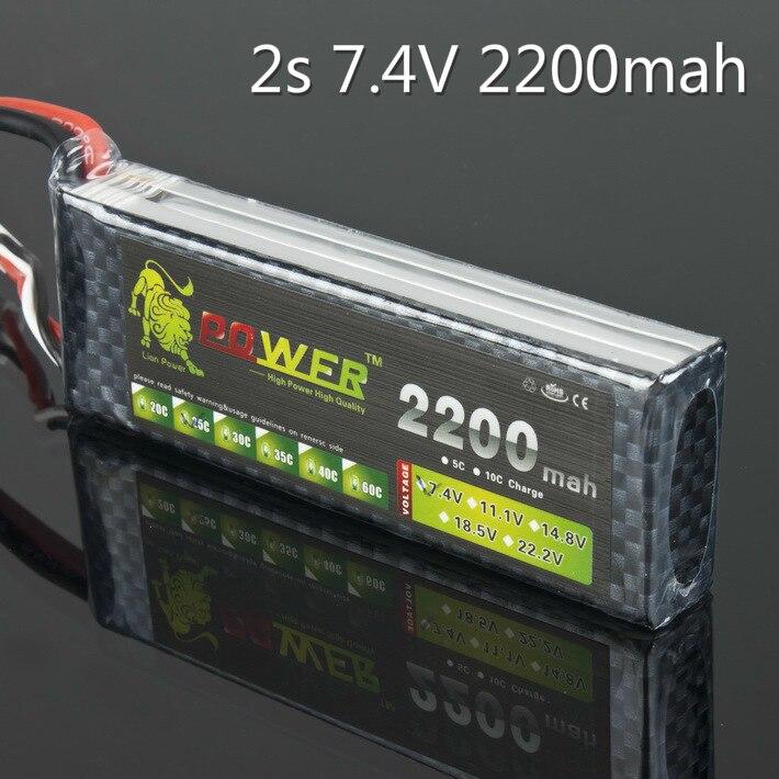 Литий-полимерный аккумулятор Lion Power 2S 7,4 в 2200 мАч 25C Max 40C JST T XT60 для радиоуправляемого квадрокоптера самолета WLtoys K949 автомобиль 1/16 игрушка Revo