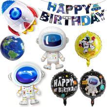 Taoup Astronaut Spaceship Rocket Happy Birthday Balloons Sci-Fi Theme Party Decor Galaxy Helium Foil Ballons