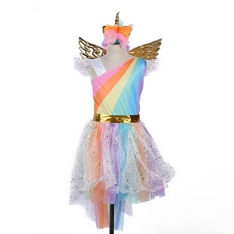 new year rainbow unicorn kids with headband girls children baby newborn dress halloween costume for kids princess anime cosplay