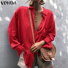 VONDA Fashion Shirt Blouse Female Sexy Shirt Vintage Lapel Neck Long Sleeve Buttons Solid Top 2019 Spring Women Casual Blusas