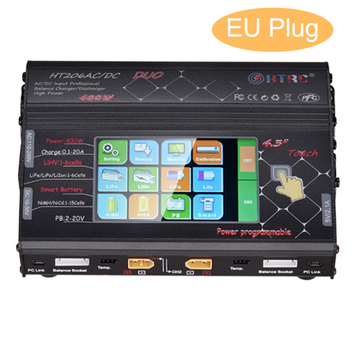 2018 New HTRC HT206 AC/DC Touch screen RC Balance Charger for Li ion Battery EU Plug