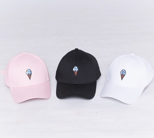 4afff58665b 2018 Brand Korean Ice Cream Embroidery Hats Women Embroidery Cotton Baseball  Cap Snapback Cap Casquette Hip Hop Flat Hat
