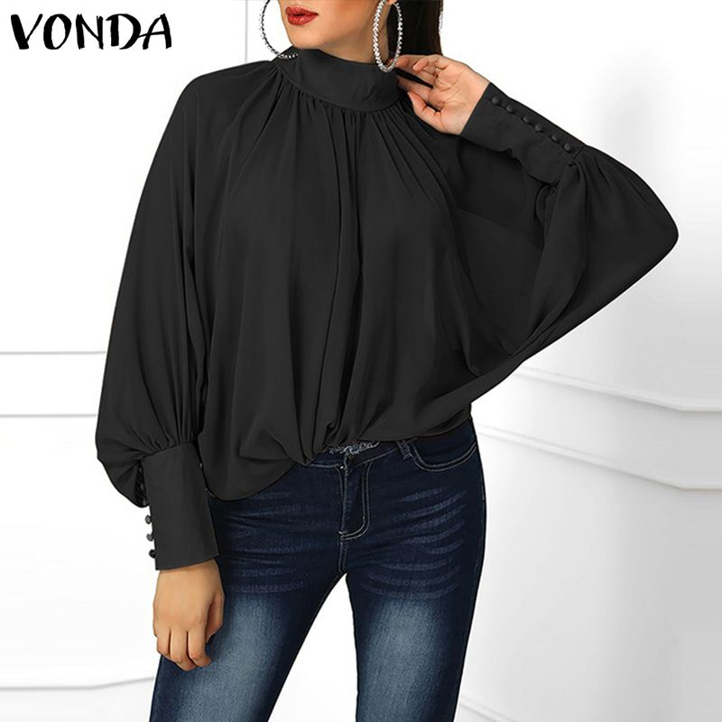 New VONDA Women Blouses 2019 Autumn Sexy Blusas Long Lantern Sleeve High Neck Shirts Elegant Buttons Casual Loose Plus Size Tops in Blouses amp Shirts from Women 39 s Clothing