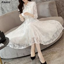2019 Autumn Lace dress Casual Slim Fashion Neckline Sexy Hollow Out White Black and Color Dresses for Women For Women Xnxee chic flower shape and hollow out embellished black and blue sunglasses for women