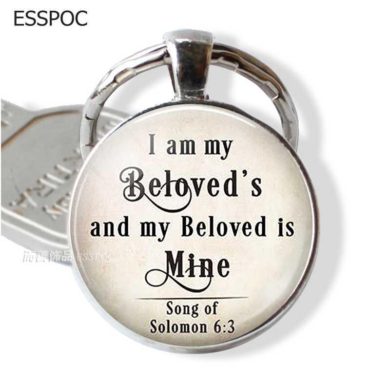 أنا بلدي الحبيب و بلدي الحبيب هو الألغام إقتباس قلادة ، رومانسية هدية الحب إقتباس مجوهرات الكتاب المقدس مفتاح ميدالية مفاتيح ذات حلقة مفتاح فوب
