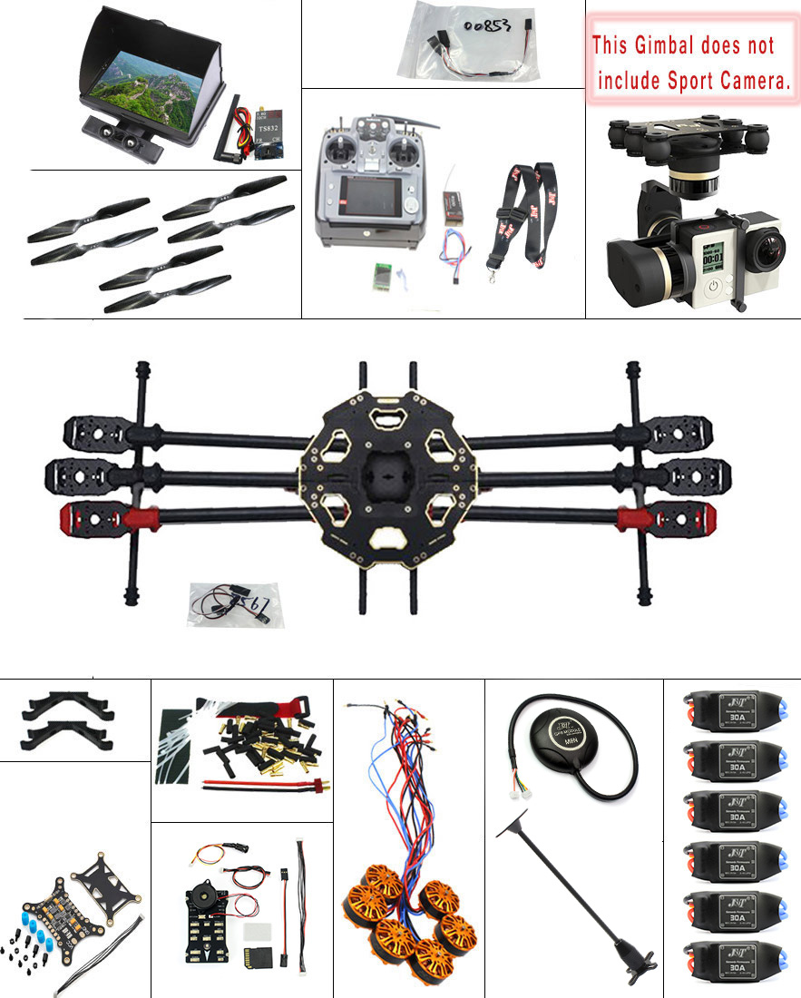 F07807 I JMT 2.4G 9CH DIY RC PX4 GPS 5.8G FPV 680PRO Hexacopter Unassembled 6 Axle Kit ARF RC Drone MINI3D Pro Gimbal No Battery
