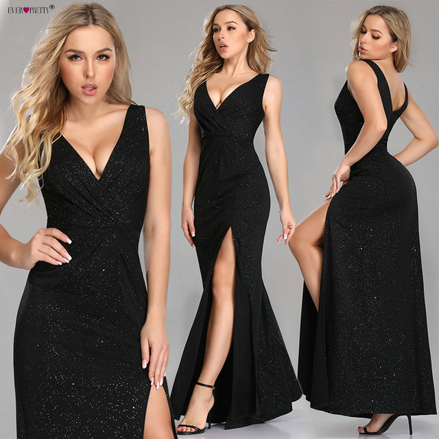 Sexy Prom Dresses Long Ever Pretty EP07780 2020 New Arrival Sleeveless Leg Slit Mermaid Black Sparkle Robe De Soiree 6
