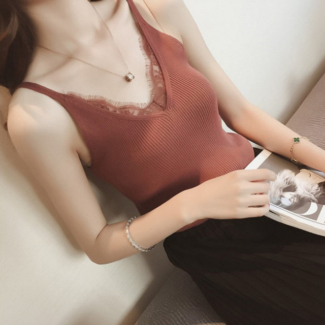 Women Hook Flower Lace Tank solid Stitching V-neck Camis Female Knitted Short Slim Sleeveless Shirt Tank Casual Tops 1