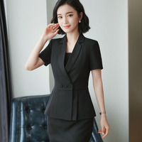 Elegant Summer Women Plus Size Blazers 2 Pieces Set Pleated Tops Mini Skirt Set Notched Ladies Office Work Wear Uniforms Sets