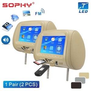 Image 3 - 2 個 7 インチ車のヘッドレストモニター LED デジタル画面枕モニターと MP4 MP5 プレーヤー USB SD 後部座席エンターテイメント SH7048 P5