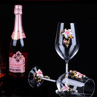 2PCS 470ML Vintage Crystal Red Wine Cups Creative Wedding Gift Suit Enamel Glass Goblet Wine Glass With Gift Box