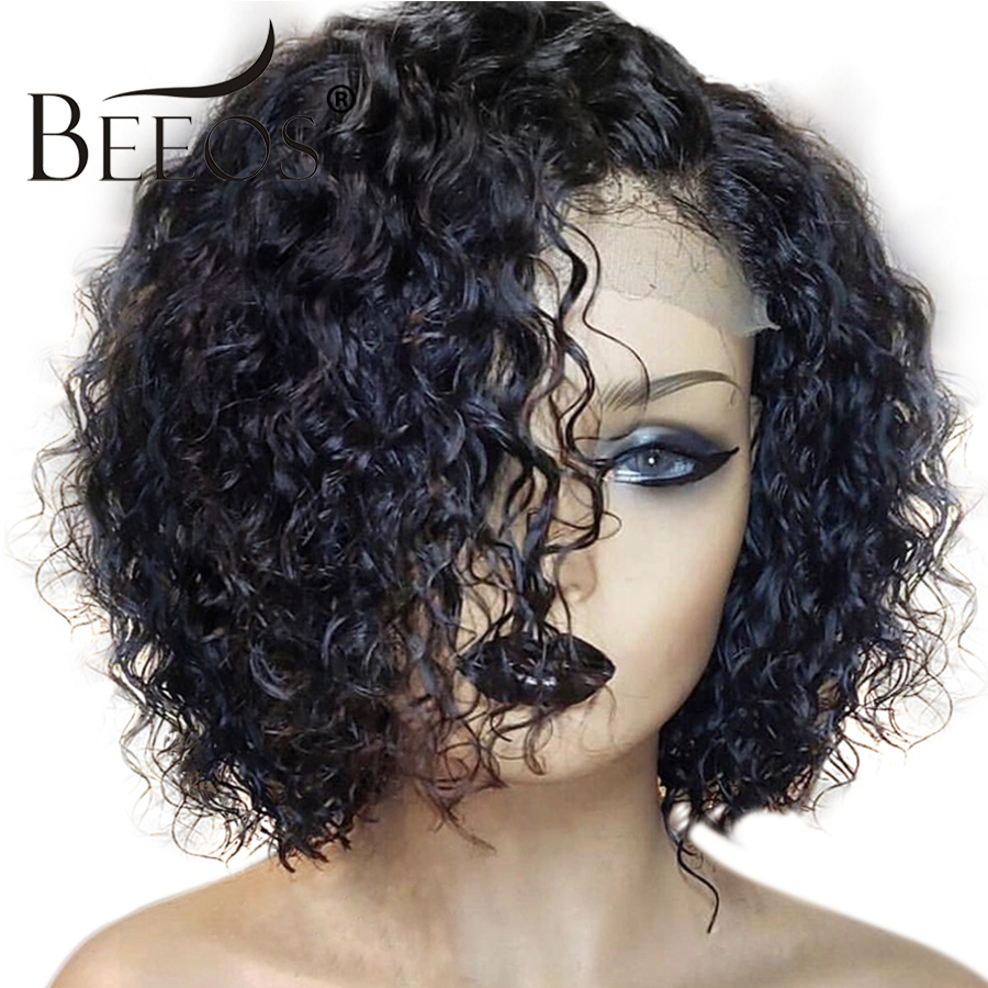 BEEOS Brazilian Short Curly 13*6  Lace Front Human Hair Wigs Pre Plucked With Baby Hair Remy Hair Wigs 130% Women Natural Black