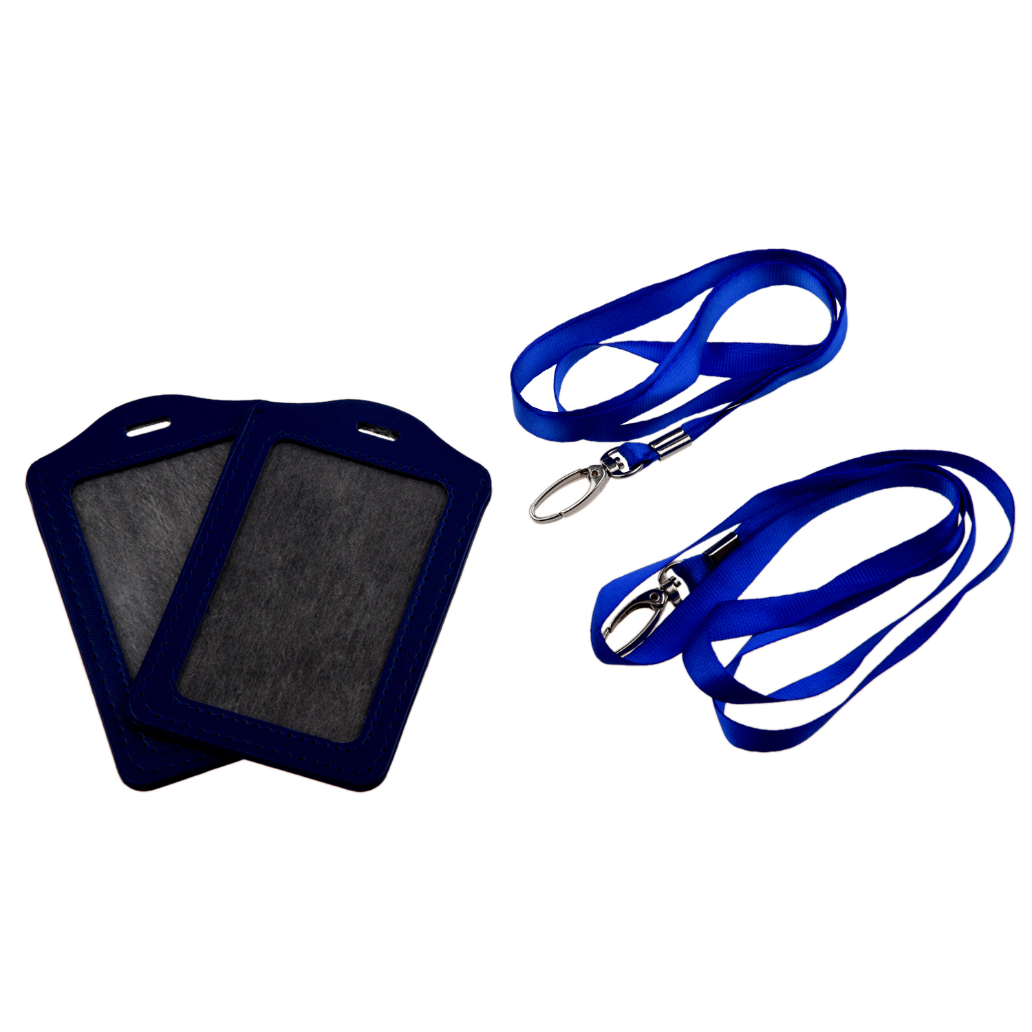 Blue Faux Leather Badge ID Card Vertical Holders Neck Strap 2 Pcs