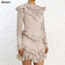Xnxee Lace Hollow Out Ruffles Spliced Dress 2019 Autumn New