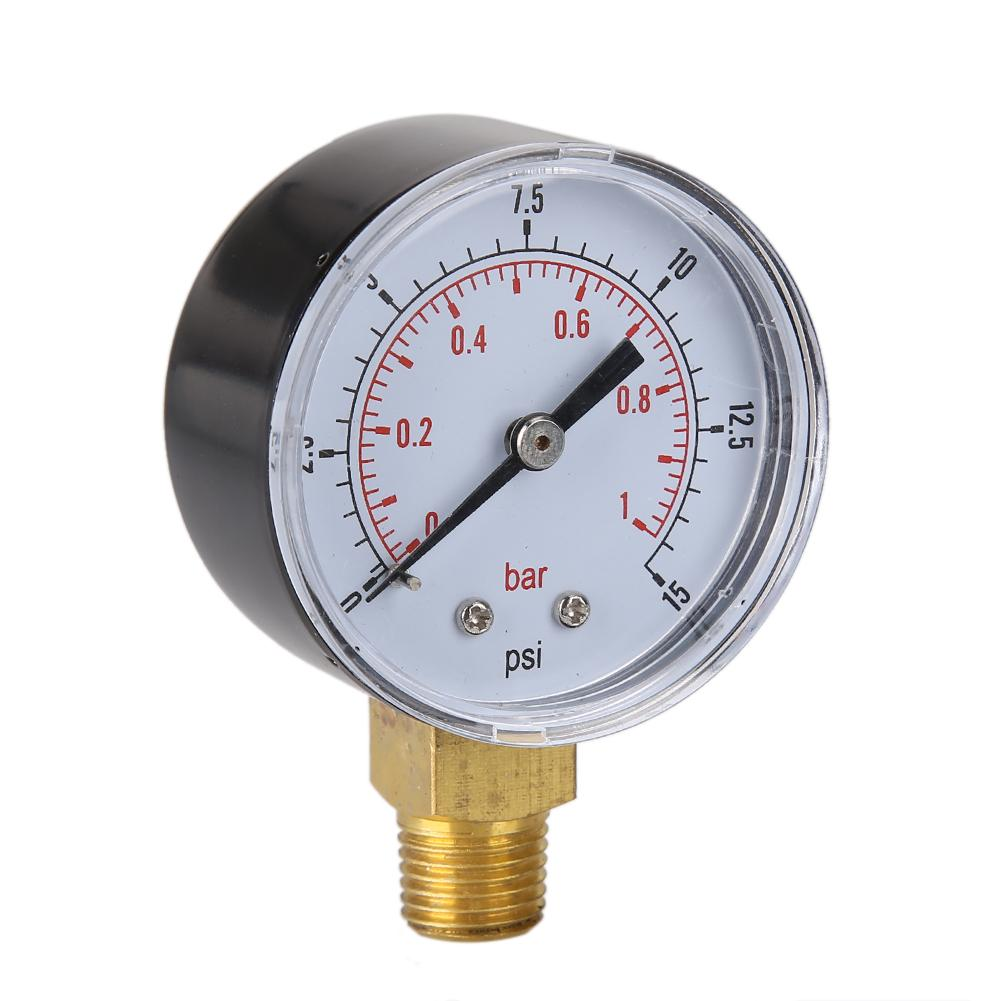 Low pressure gauge for fuel air oil gas water 50mm 0-15 PSI 0-1 bar 1//4 SG T-DR