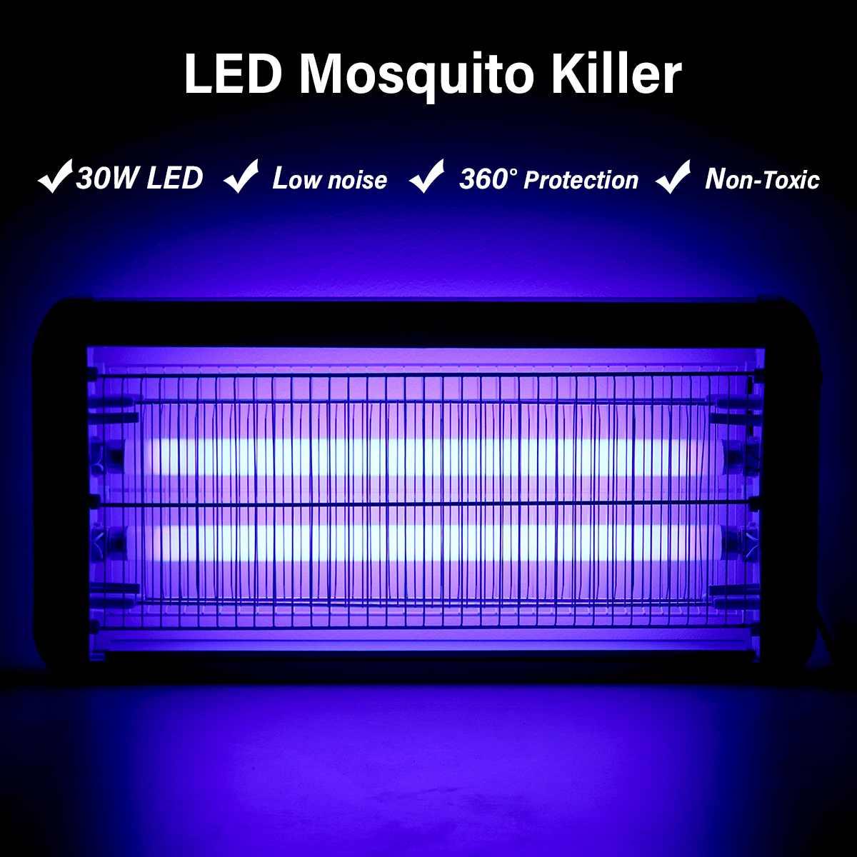 Fixé Au mur Électrique LED Moustique Tueur Lampe 30 W Ménage Extérieur Anti-insectes Ravageurs Moustiques Piège Bug Zapper Tueur Lumières