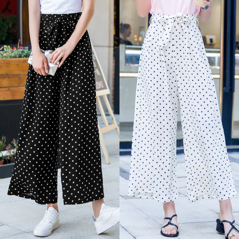 2019 Summer High Waist   Wide     Legged     Pants   Chiffon Loose Trousers Casual Dot Printed Thin Casual Ankle Length   Pant   Ladies Beach