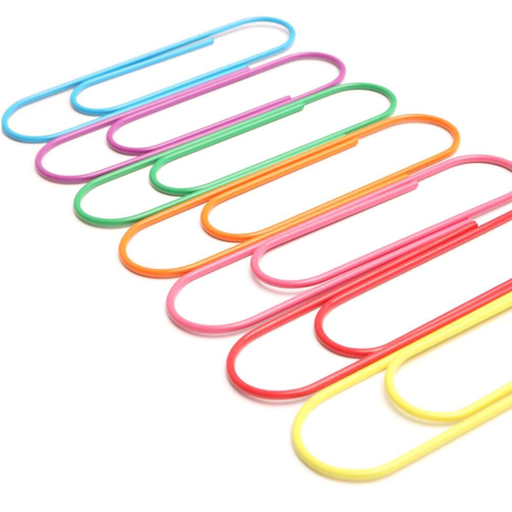 Super Large Paper Clips Vinyl Coated, 30 Pack 4 Inch Assorted Color Jumbo Paper Clip Holder, Multicolored Giant Big Sheet Hold