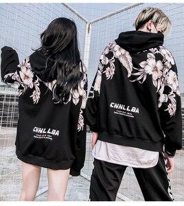 Image 4 - 2018 Winter Nieuwe bloemenprint dikke mannen hoodie Katoen oversize Harajuku High Street Mannen Vrouwen Lange Mouwen Top