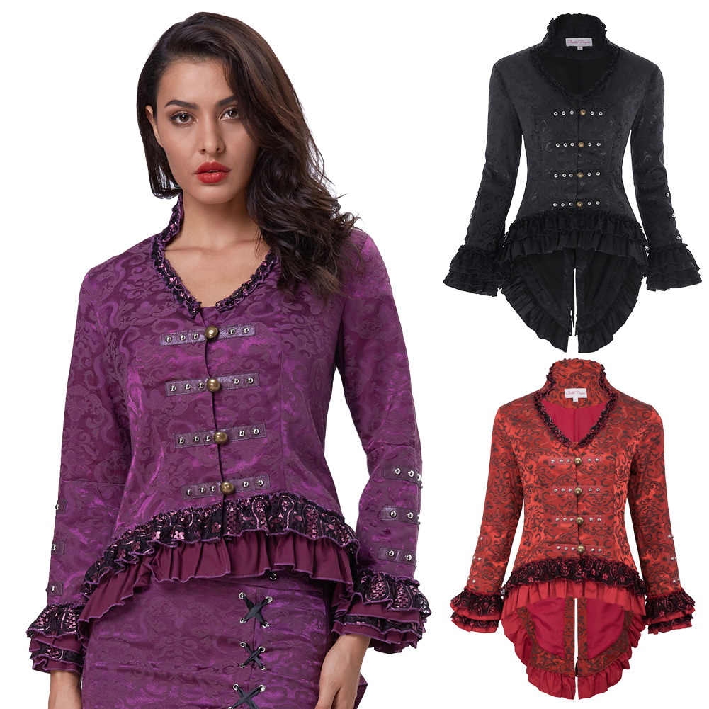 Womens Gothic Victorian Steampunk Tail Jacket Coat with Back Lacing