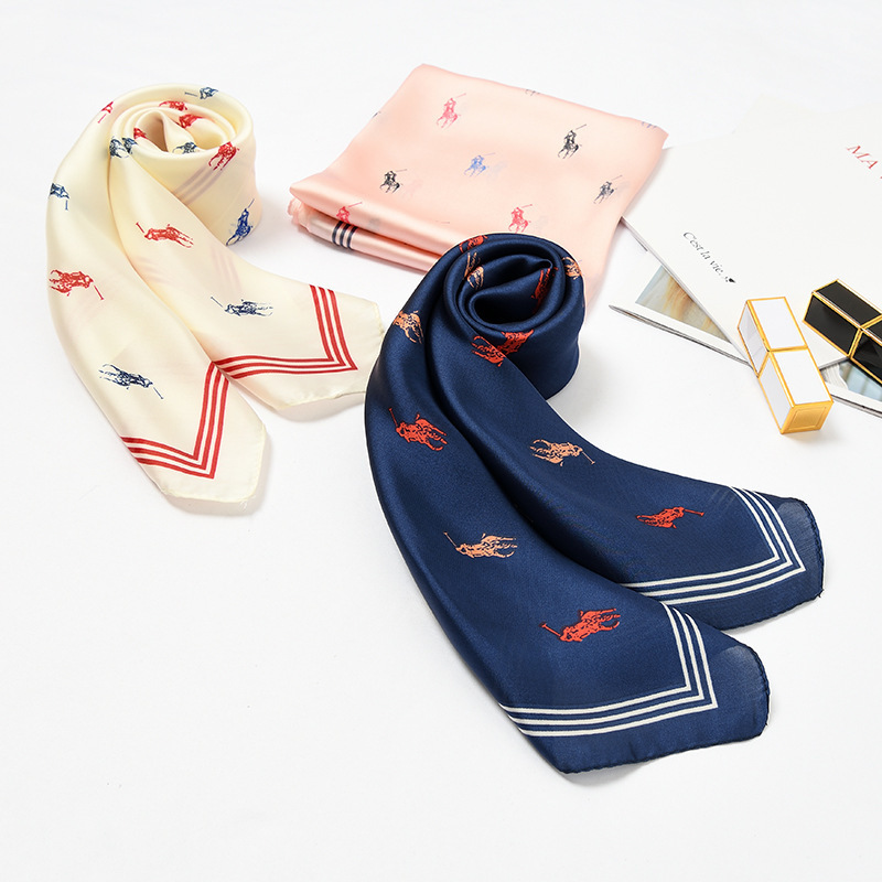 70*70 Women Square Scarf Little Horse Print Navy Blue Chiffon Silk Scarves Lady Neckerchief Headbands Bandana