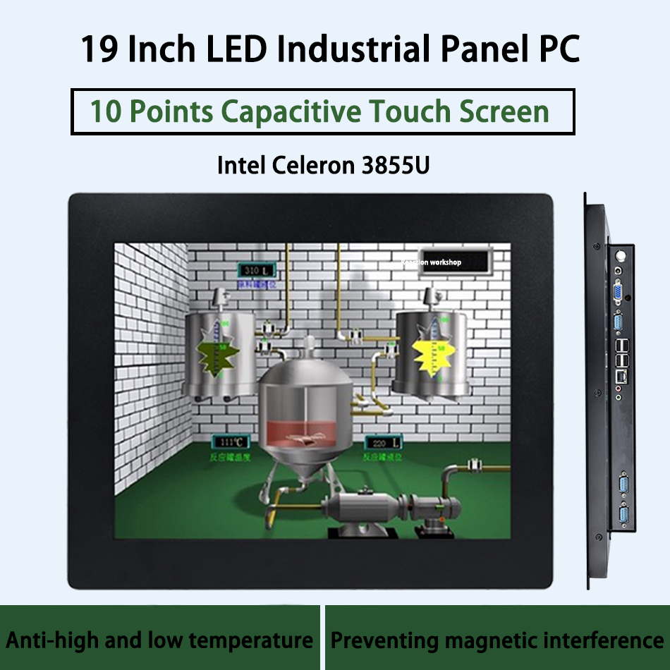 19 Inch LED Industrial Panel PC,10 Points Capacitive Touch Screen,Intel Celeron 3855U,Windows 7/10/Linux Ubuntu,[HUNSN DA03W]
