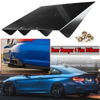 New Universal Rear Bumper Spoiler Lip Protector 4 Fins Shark Fin Style Diffuser Fin Black For BMW For Benz For Audi