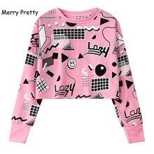 MERRY PRETTY 2018 Autumn Harajuku Women Printed Short Sweatshirts Long Sleeve Geometry Printed Hoodies Hip Hop Pink Crop Tops