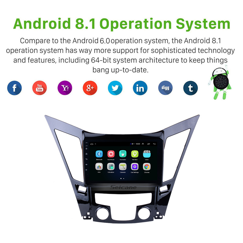 Image 2 - Seicane Android 8.1 9 inch HD Touchscreen DVD 2din car radio GPS Navi system For 2011 2012 2013 2014 2015 HYUNDAI Sonata i40 i45-in Car Multimedia Player from Automobiles & Motorcycles