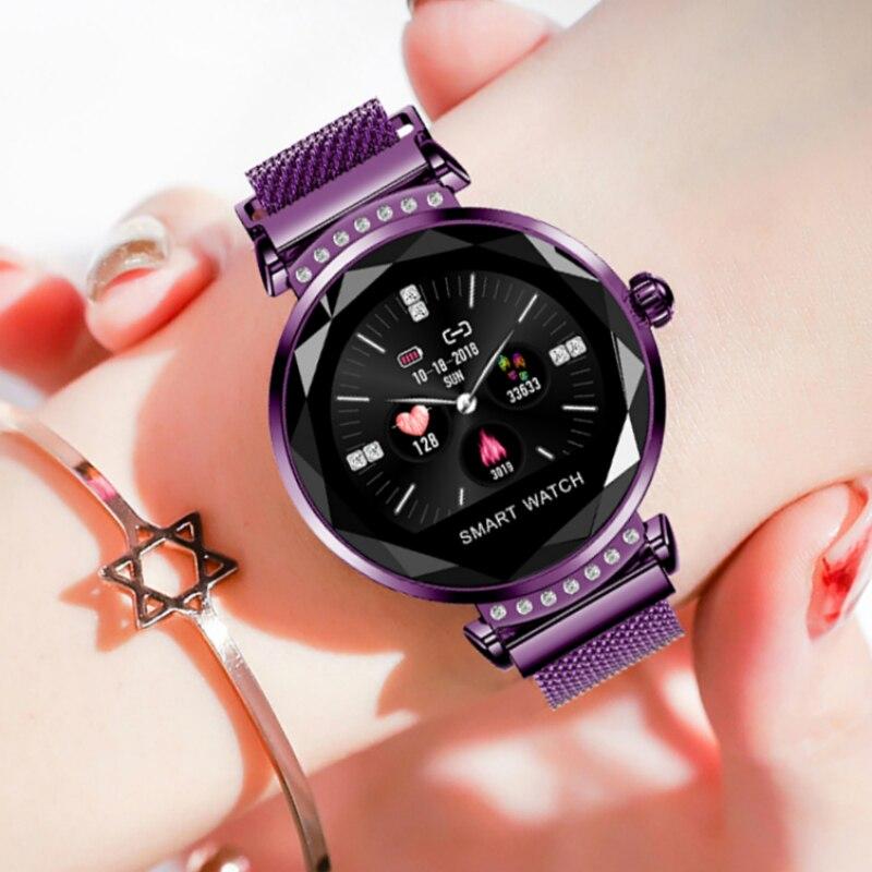 Montre intelligente femmes Bracelet meilleur cadeau nouveauté dames bande de maille magnétique Smartwatch Fitness moniteur de fréquence cardiaque pour android IOS