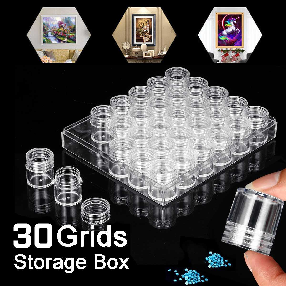 30 Grids Slots Diamond Embroidery Storage Box Bead Storage Bottle Multifunctional Tools Kits Diamond Painting Accessories Cases30 Grids Slots Diamond Embroidery Storage Box Bead Storage Bottle Multifunctional Tools Kits Diamond Painting Accessories Cases