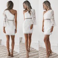 Short Cocktail Dresses Cheap One Shoulder Flare Sleeve White Lace Formal Party Gowns Sexy New Arrival Vestidos Coctel Mujer 2019