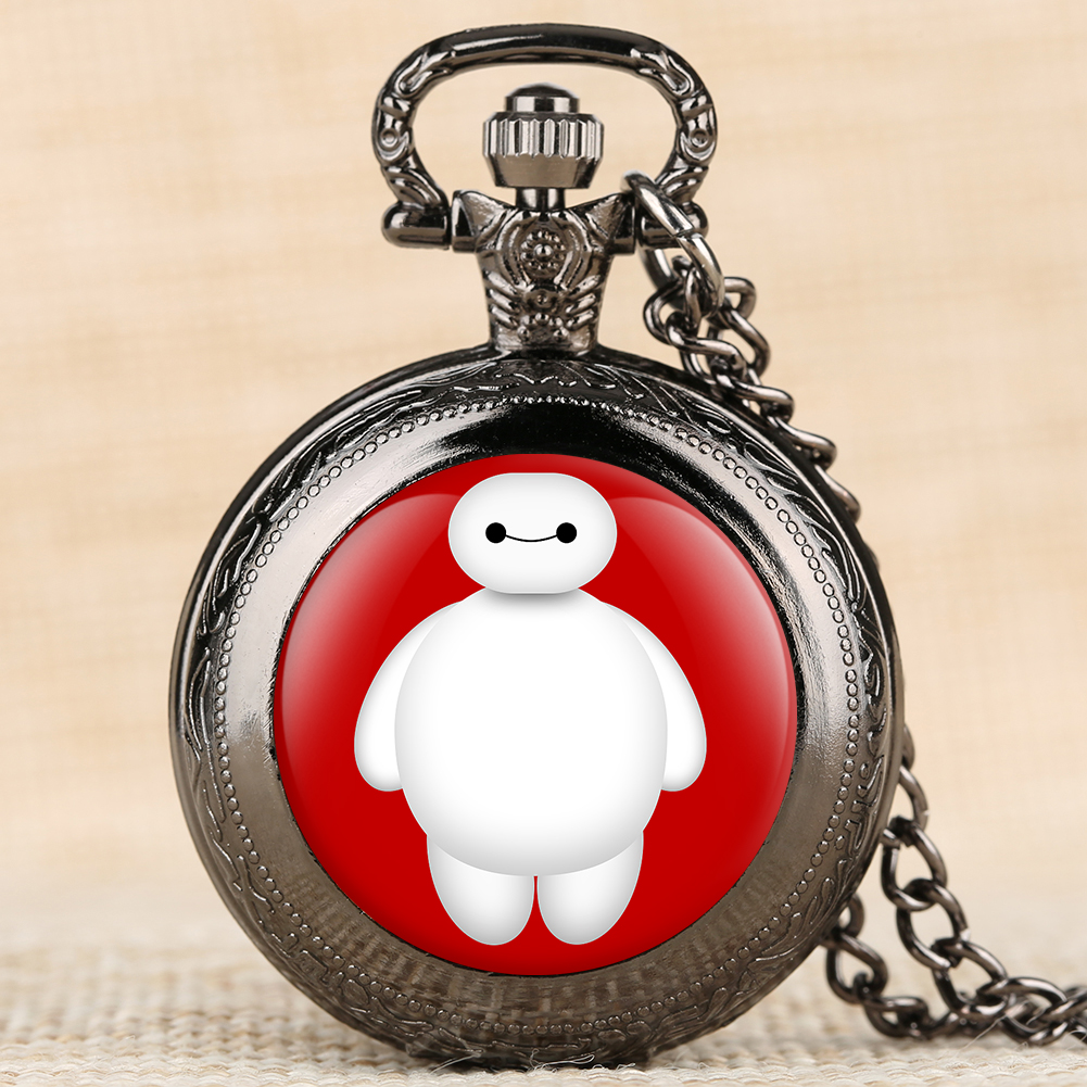Cartoon Character Pattern Pocket Watches Movie Theme Big Hero Quartz Pocket Watches Arabic Digital Pocket Watches For Boys Grils