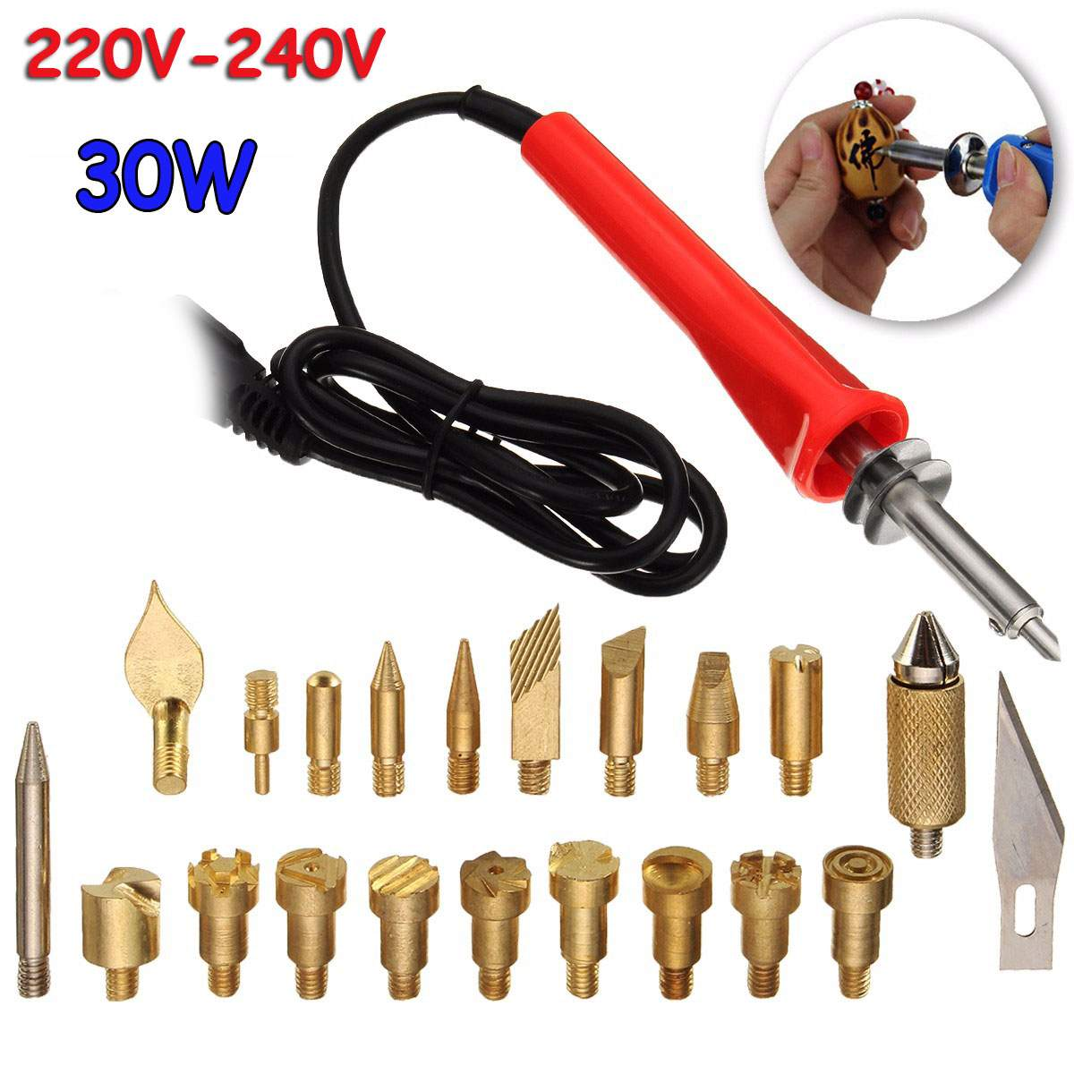 23pcs 220V 30W Wood Burning Pen Soldering Tool Set Pyrography Kit Brass With Tips Blade Tweezers Bracket