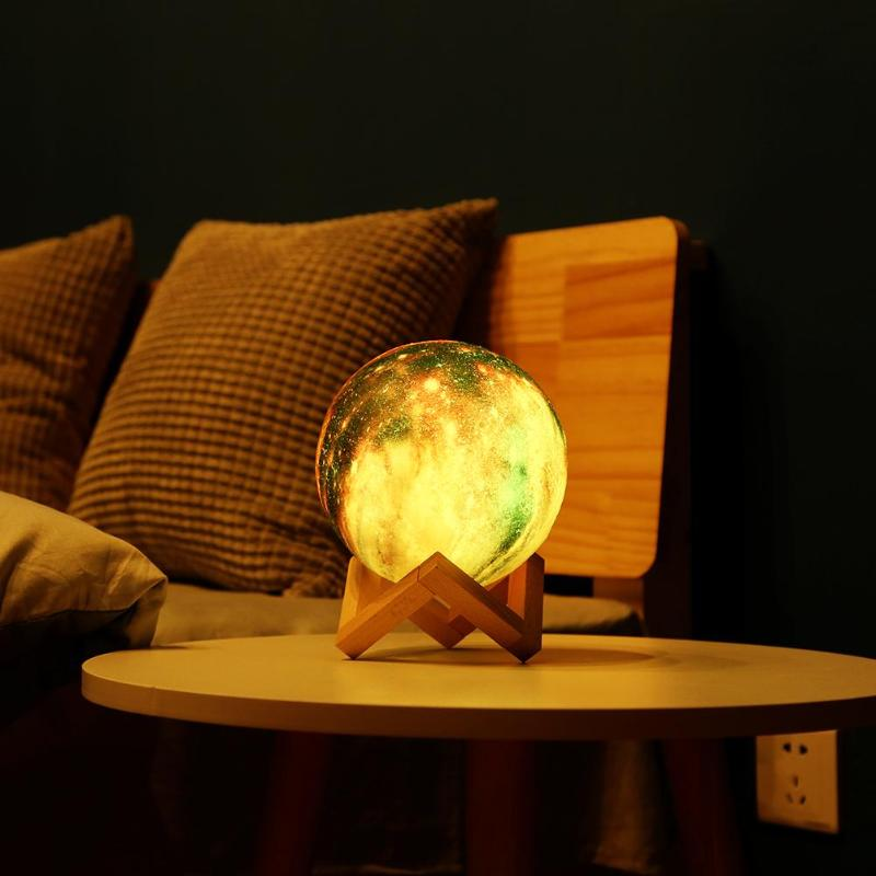 Led Night Lights Impartial 8/15cm 3d Print Starry Sky Star Moon Lamp 3 Color Change Touch Switch Control Night Light With Wooden Holder Led Lamp 50% OFF