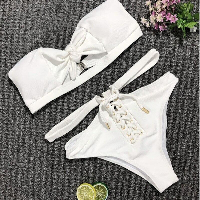 White Bandage Women Bikini Set  Bowknot Swimwear Swimsuit Push-up Bathing Suit Strapless High Waist Lace Up Bikini Women