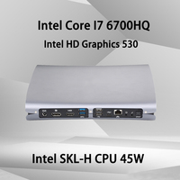 Вентилятор 4 K Mini PC, Intel Core I7 6700HQ, Windows 10/Ubuntu, серебристый, [HUNSN BA01], (WiFi/1HDMI1. 4/1DP1. 2/2USB3. 0/2USB2. 0/1LAN)