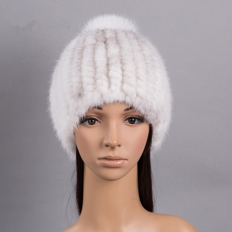 knitted fur hat of natural mink fur winter hats girl hat with pompom real fur hat 9 colors gray khiki women warm beanie H161