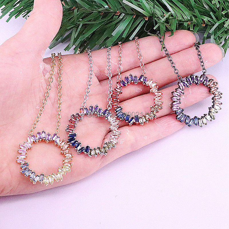 5Pcs Rainbow CZ Micro Pave Mixed Color circle Shape Charm Pendant Necklace Cubic Zirconia Necklaces