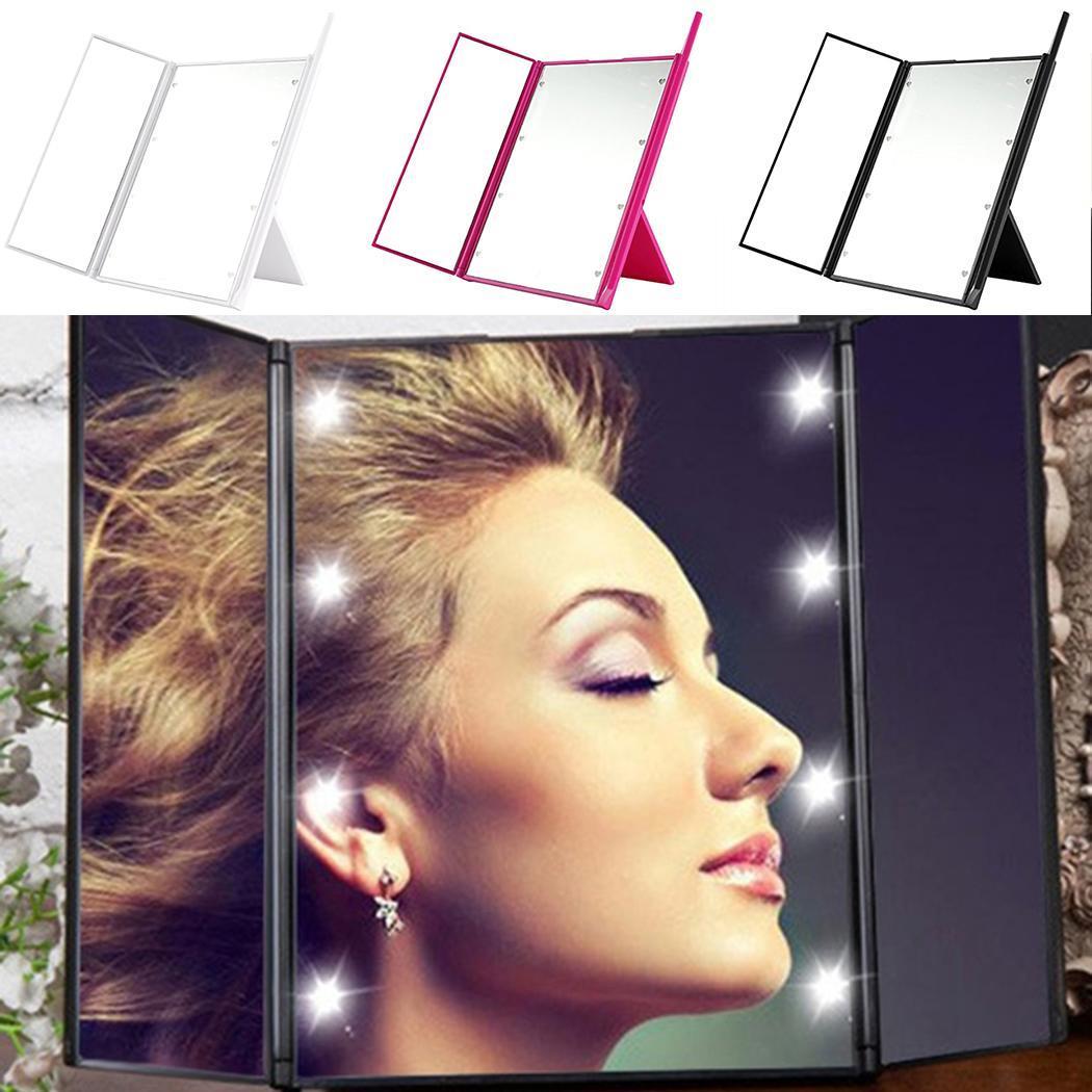 PüNktlich Led Touchscreen Drei Seiten Faltbare Rechteck Dimmbare Make-up Tisch Weiß Rosa Schwarz Spiegel Um Sowohl Die QualitäT Der ZäHigkeit Als Auch Der HäRte Zu Haben