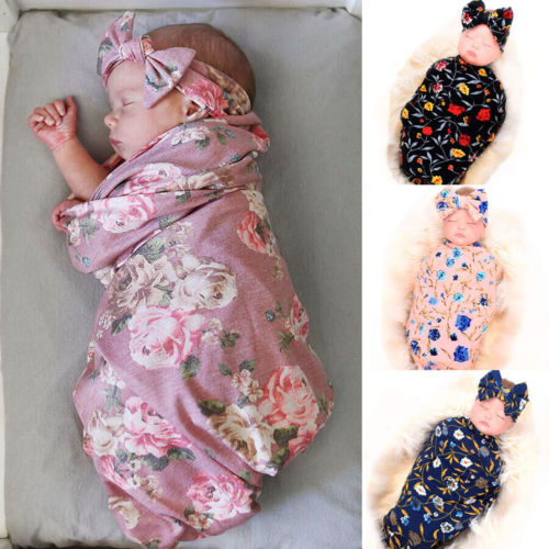 Soft Large 100% Cotton Floral Muslin Swaddle Blanket Sleeping Bags Towel For Newborn Baby Girl Boys Infant Bath Sleeping Bag
