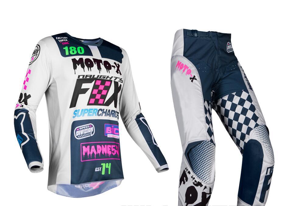 купить 2019 NAUGHTY Fox MX 180 Czar Light Grey Gear Jersey Pants Mens Combo Dirt Bike Off Road Riding Motocross Racing Protective Pad недорого