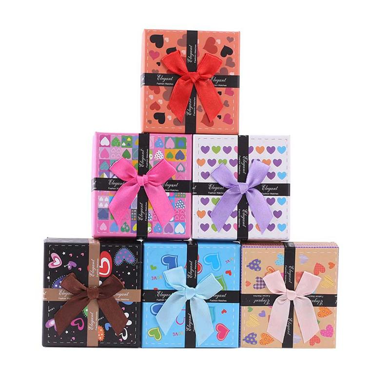 1PC Hot Sale Gift Box Colorful Heart Bowknot Carton Innovative Gift Packaging Box for Jewelry Ring Watch Gift Accessories