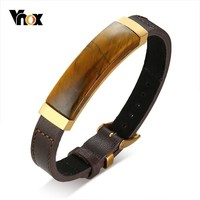 Vnox Vintage Tiger's Eye Charm Bracelets for Men with Genuine Leather Strap pulseira masculina 17.5 22cm