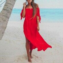 цены на 2019 Summer Women Dress Sexy Off Shoulder Short Sleeve Red Black Chiffon Dress High Split Long Maxi Beach Dress Female Sundress в интернет-магазинах