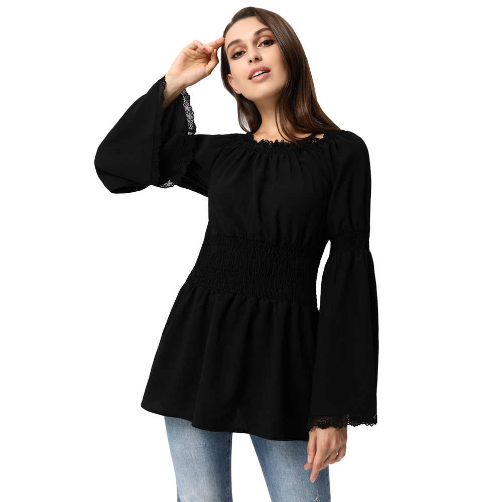 dd3a7160b010a4 ... New Women steampunk gothic shirt blouse autumn sollid Casual Long flare  Sleeve Off Shoulder Smocked Waist