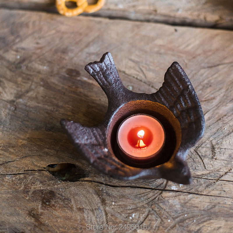 Creative Metal Cast Iron Candlestick Retro Nostalgic Handmade Old Candlestick Gift Wrought Iron Ashtray Storage Box in Candle Holders from Home Garden