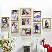 9 Pieces Mini Pictures Frames Retro Family Photo Frame Home Decor Art Wooden Wedding Vintage DIY Family Frame Home Decoration(China)