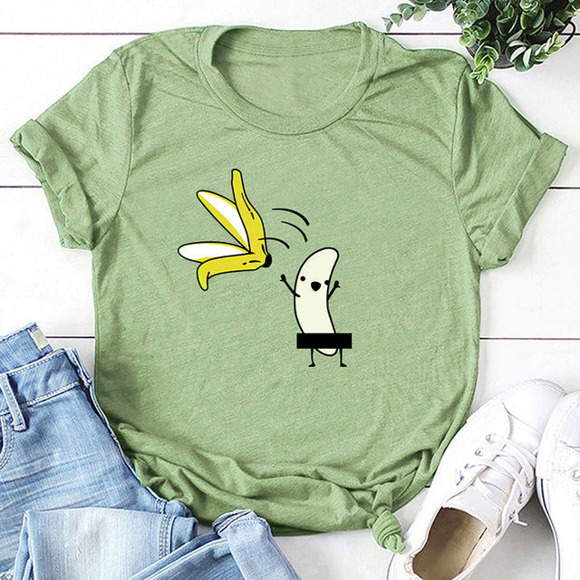 Casual Cotton Funny T-Shirt Women Naked Banana Cartoon Print Short Sleeve O-Neck T Shirt Women Cute Tee Shirt Femme Summer Tops