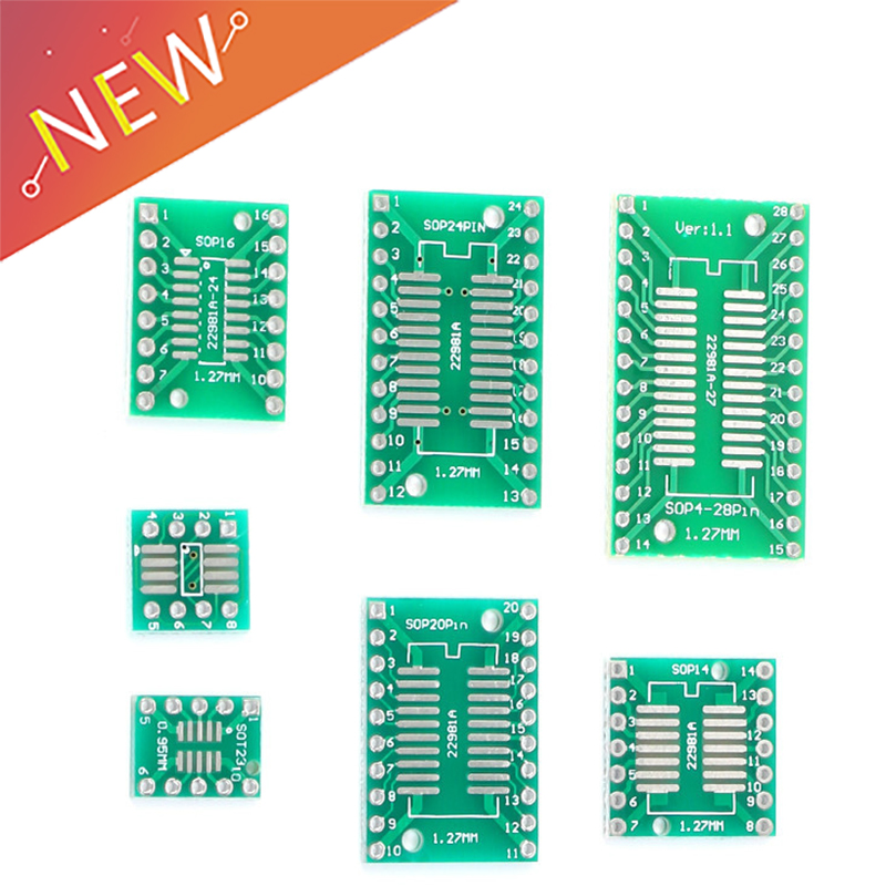 10pcs PCB Board Kit SMD Turn To DIP Adapter Converter Plate SOP MSOP SSOP TSSOP SOT23 8 10 14 16 20 28 SMT To DIP